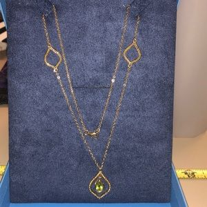 Jewelry - Green Peridot Eyelet Gold Over Sterling Necklace